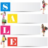 Fashion Sale. Easy to edit vector illustration of lady with shopping bag in fashion sale poster royalty free illustration