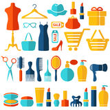 Fashion, sale and shopping flat icons set Stock Images