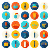 Fashion, sale and shopping flat icons Stock Images