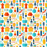 Fashion, sale and shopping seamless background Stock Images