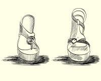 Fashion  sandals. Trendy fashion  sandals.  Fashionable Hand drawn illustration Stock Photo