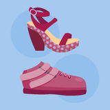 Fashion sandals female multicolored isolated casual summer footwear pair design vector Stock Images