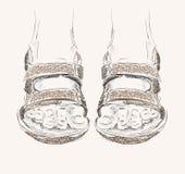 Fashion  sandals. Trendy fashion  sandals.  Fashionable Hand drawn illustration Royalty Free Stock Photos