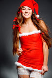 Fashion santa helper girl Royalty Free Stock Image