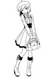 Fashion school girl in a beret. Illustration,black and white,art,outline Royalty Free Stock Images