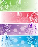 Fashion school girls banner Back to school Stock Photos