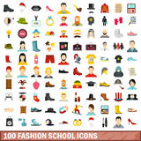 100 fashion school icons set, flat style. 100 fashion school icons set in flat style for any design vector illustration royalty free illustration