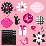 Fashion scrapbooking. Isolated on pink background vector illustration