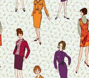Fashion seamless background. Stylish fashion dressed woman (1950s 1960s style): Retro fashion party. vintage fashion silhouettes from 60s. Fashion seamless Royalty Free Stock Photography
