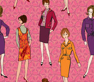 Fashion seamless background. 1960s style. Stylish fashion dressed girls (1970's 1960's style) seamless pattern: Retro fashion party. vintage fashion silhouettes Vector Illustration