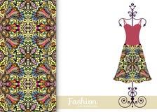 Fashion seamless geometric pattern, women's dress. On a hanger, invitation card design Royalty Free Stock Photography