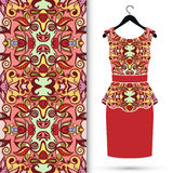 Fashion seamless geometric pattern, women's dress. On a hanger, invitation card design Royalty Free Stock Images