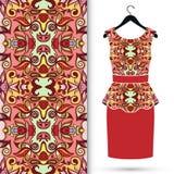 Fashion seamless geometric pattern, women's dress Royalty Free Stock Images