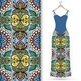 Fashion seamless geometric pattern, women's dress. On a hanger, invitation card design Stock Photos