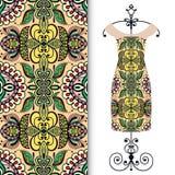 Fashion seamless geometric pattern, women's dress. On a hanger, invitation card design Royalty Free Stock Photos