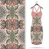 Fashion seamless geometric pattern, women's dress. On a hanger, invitation card design Stock Image