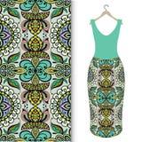 Fashion seamless geometric pattern, women's dress Stock Images