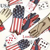 Fashion seamless pattern with cards and gloves decorated by Brit Stock Photo