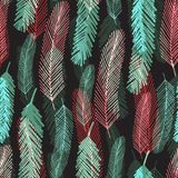 Fashion seamless pattern with colorful feathers. Vector bright texture for wrapping or textile. Stock Photography