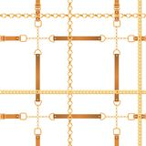 Fashion Seamless Pattern with Golden Chains. Fabric Design Background with Chain, Metallic accessories and Jewelry. For Wallpapers, Prints. Vector illustration royalty free illustration