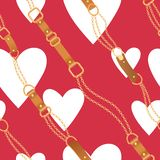 Fashion Seamless Pattern with Golden Chains and Hearts. Chain, Braid and jewelry Accessories Valentines Day Background vector illustration