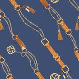 Fashion Seamless Pattern with Golden Chains and Straps. Chain, Braid and jewelry elements Background for Fabric Design royalty free illustration