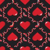 Fashion seamless pattern.High heel shoes and hearts. Fashion seamless pattern.Female's colored red high heel shoes with volume heart .Bright summer composition Royalty Free Stock Photos