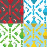 Fashion seamless pattern set.Colored coctail dress,handbags,shoe Stock Images
