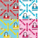 Fashion seamless pattern set.Colored ,handbags,shoes,dresses. The composition of four Fashion seamless pattern set.Female's colored  high heel shoes and handbags Royalty Free Stock Photos