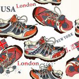 Fashion seamless pattern with sports boods decorated by British Stock Image