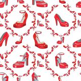 Fashion seamless pattern.Womens high heel shoes. Fashion seamless pattern.Female's colored red high heel shoes .Bright summer composition. Fashion  Illustration Royalty Free Stock Image