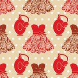 Fashion seamless texture with dresses and perfume. Stock Photography