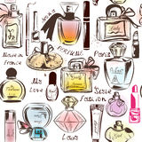 Fashion seamless wallpaper pattern. With of different perfumes Stock Image