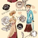 Fashion seamless wallpaper pattern with old fashioned objects Royalty Free Stock Image