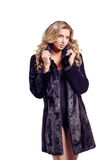 Fashion seductive blond hair lady in an elegant fur coat and black underwear on white. Fashion seductive blond hair lady in an elegant fur coat and black royalty free stock images