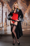 Fashion seductive blond hair lady in an elegant fur coat, red sexy lingerie and stockings Stock Images