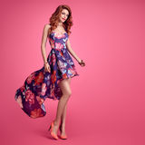 Fashion Sensual Redhead Girl. Summer Floral Dress Stock Images