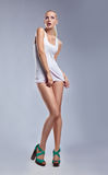 Fashion sensual woman in singlet - erotic pose Royalty Free Stock Photography