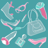 Fashion set 01. Fashion objects set, including few accessories Royalty Free Stock Image