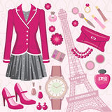 Fashion set. With the Eiffel Tower Stock Photo