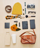 Fashion set of accessories and stuff for the fall Royalty Free Stock Photo