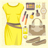 Fashion set with a casual dress Royalty Free Stock Photos