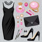 Fashion set with a cocktail dress Stock Photography