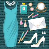 Fashion set with a cocktail dress Royalty Free Stock Photography