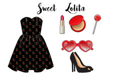 Fashion set collection - short dress , heels, and make up Royalty Free Stock Images