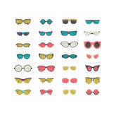 Fashion set with colorful sunglasses isolated on white. Vector illustration in blue, green and pink. Women and unisex sunglasses i Stock Photography