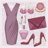 Fashion set with a dress Royalty Free Stock Image