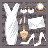 Fashion set with a dress Royalty Free Stock Photos