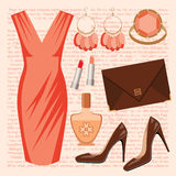 Fashion set with a dress Stock Photos