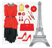 Fashion set with the Eiffel Tower Royalty Free Stock Photos
